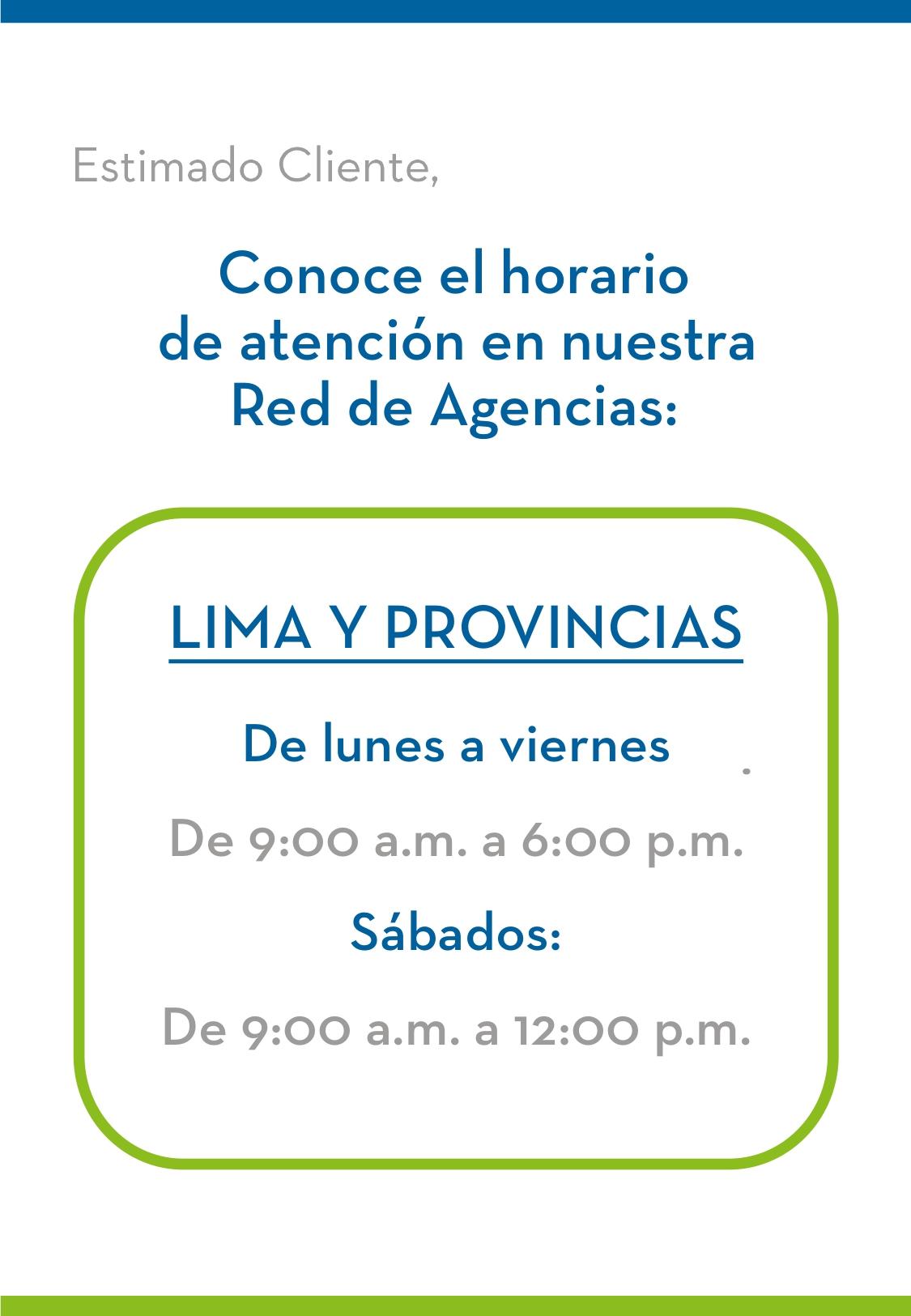 GNB Peru. Conoce nuestro horario de Atención regular: Lima Y Provincias